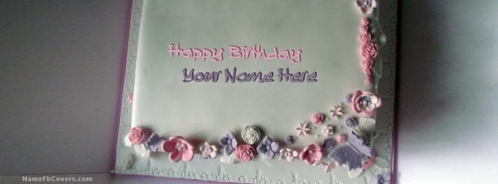 Write Name On Floral Iced Birthday Cake Facebook Cover