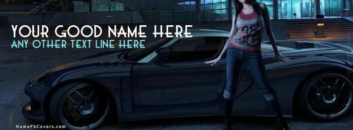 Girl and Car Facebook Cover With Name