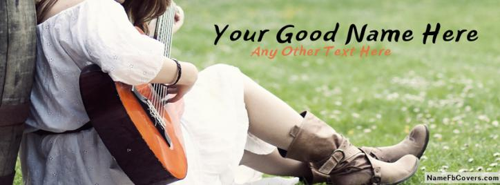 Girl Playing Guitar Facebook Cover With Name