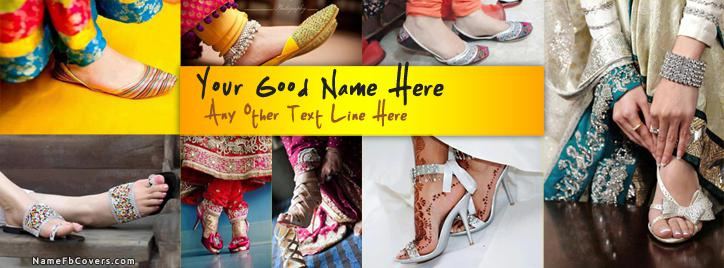 Girly Shoes Facebook Cover With Name