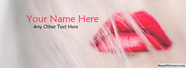 Gorgeous Red Lips Facebook Cover With Name