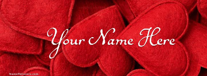Handmade Hearts Facebook Cover With Name