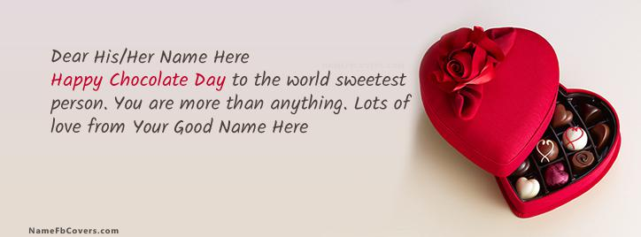 Happy Chocolate Day Facebook Cover With Name
