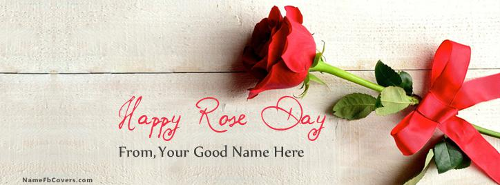 Happy Rose Day 2015 Facebook Cover With Name