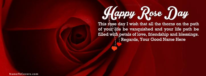 Happy Rose Day Greeting Facebook Cover With Name