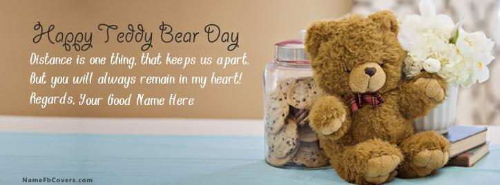 Happy Teddy Bear Day Facebook Cover With Name