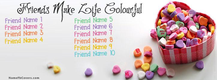 10 Friends Colourful Facebook Cover With Name