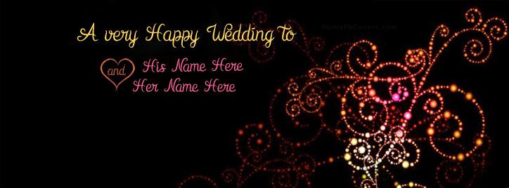 A very Happy Wedding Facebook Cover With Name