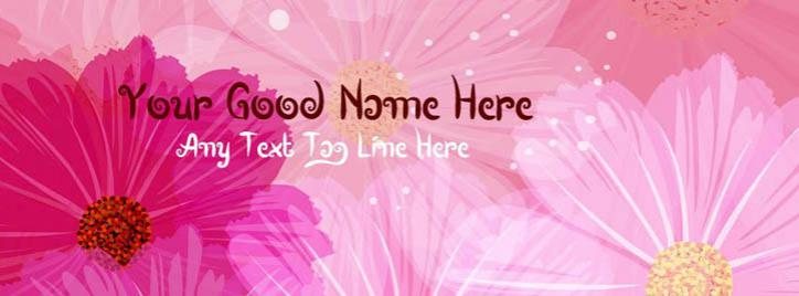 Abstract Vector Flowers Facebook Cover With Name