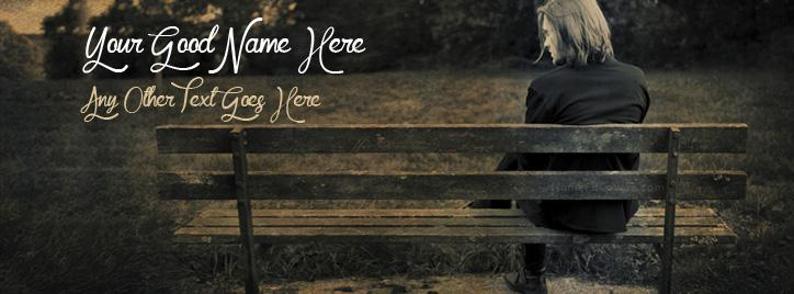 Alone Boy Sitting on Bench Facebook Cover With Name