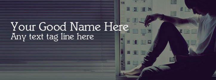 Alone Boy Smoking Facebook Cover With Name
