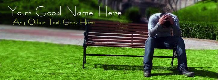 Alone Depressed Boy Facebook Cover With Name