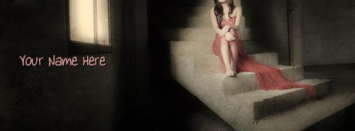 Alone girl sitting on stairs Facebook Cover With Name
