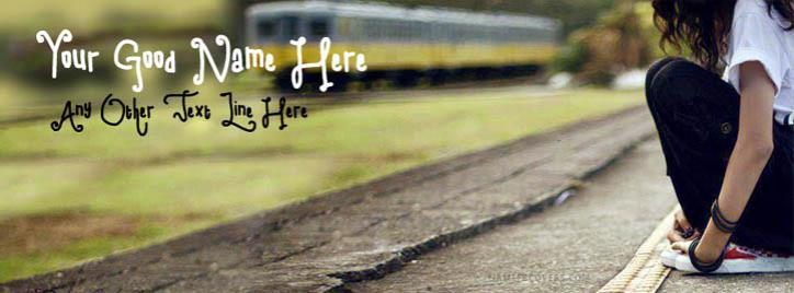 Alone Girl Waiting on Station Facebook Cover With Name