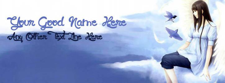 Angel Girl in Sky Facebook Cover With Name