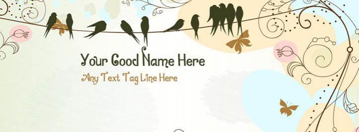 Antique floral garden Facebook Cover With Name