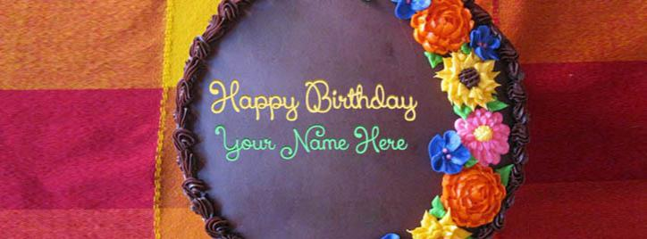 Awesome Flower Birthday Cake Facebook Cover With Name