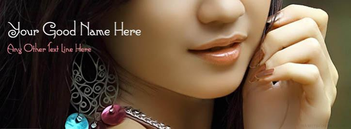 Beautiful Face Facebook Cover With Name