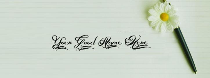 Beautiful Pen Art Facebook Cover With Name