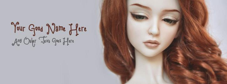 Beautiful Red Hair Doll Facebook Cover With Name