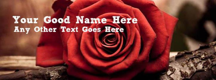 Beautiful Red Rose Facebook Cover With Name