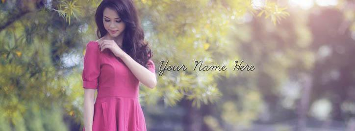 Beautiful Smiling Girl Facebook Cover With Name