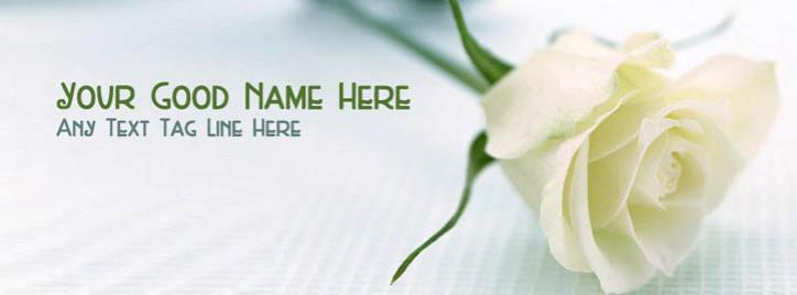 Beautiful White Rose Facebook Cover With Name