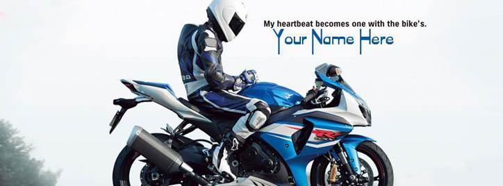 Bike Lover Facebook Cover With Name