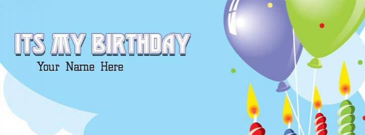 Birthday Balloons Facebook Cover With Name
