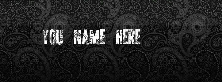 Black Pattern Facebook Cover With Name