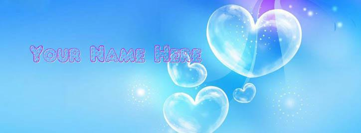 Blue Bubble Hearts Facebook Cover With Name