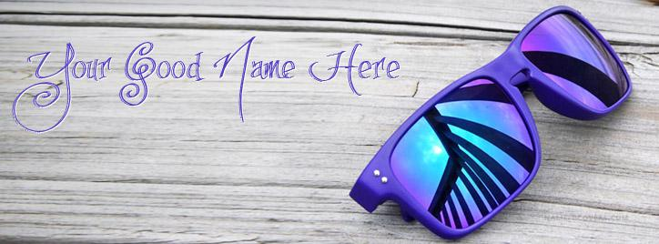 Blue Dashing Sun Glasses Facebook Cover With Name