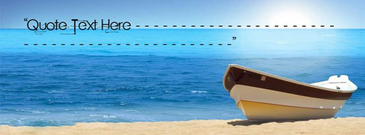 Boat on Beach Facebook Cover With Name