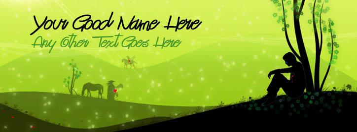 Boy Lonely Art Facebook Cover With Name