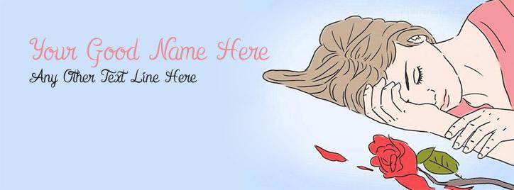 Broken Heart Girl Facebook Cover With Name
