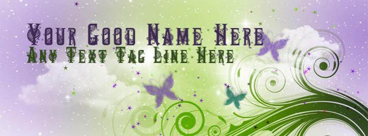 Butterflies and shining stars Facebook Cover With Name