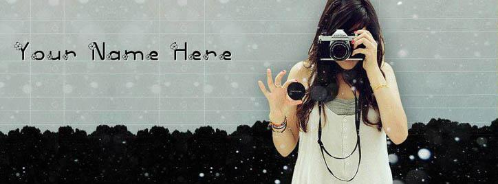 Camera Girl Facebook Cover With Name
