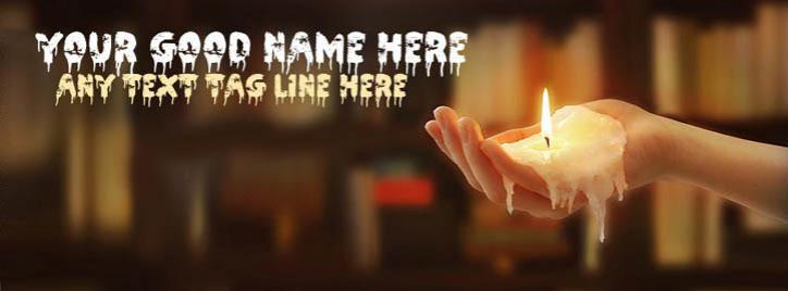 Candle melting on hand Facebook Cover With Name