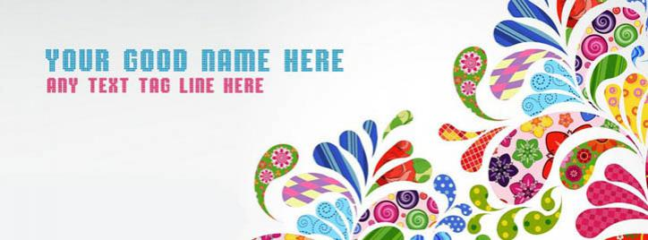 Colorful Floral Art Facebook Cover With Name