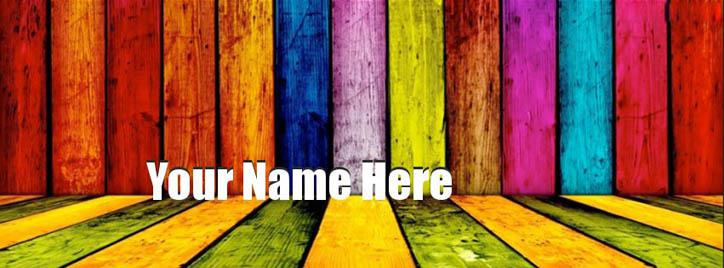 Colorful Wall Facebook Cover With Name