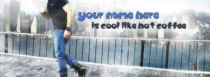 Cool Like Hot Coffee Facebook Cover With Name