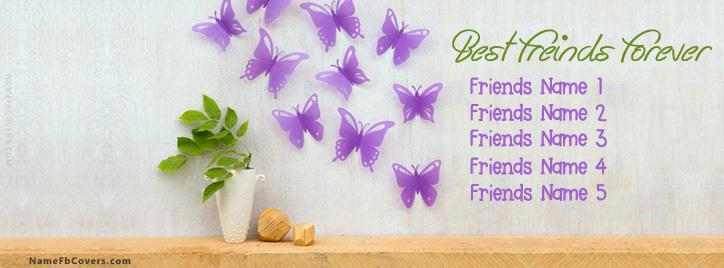 Cute Best Friends Forever Facebook Cover With Name