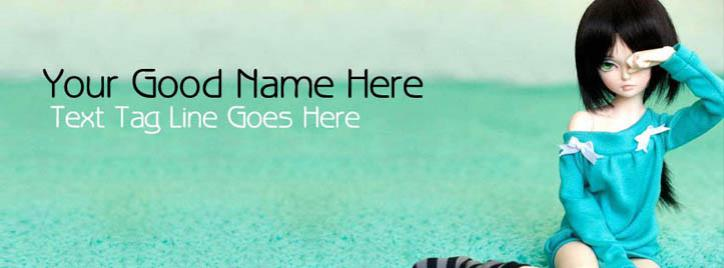 Cute Doll Crying Facebook Cover With Name