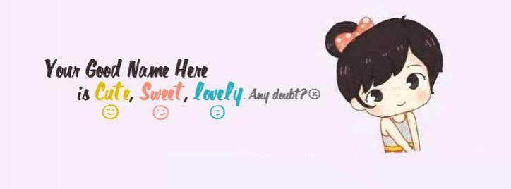 Cute Sweet Lovely Girl Facebook Cover With Name