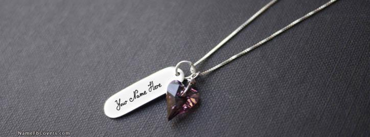 Diamond Heart Necklace Facebook Cover With Name