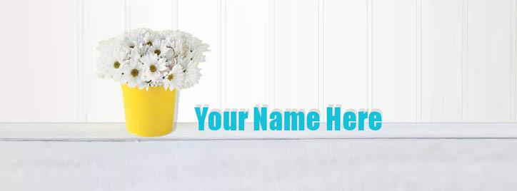 Flowers Bucket Facebook Cover With Name