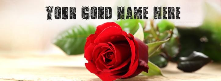 Fresh Rose Beautiful Art Facebook Cover With Name