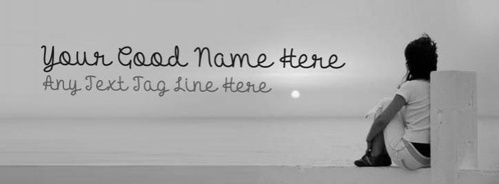 Girl and Sea View Facebook Cover With Name