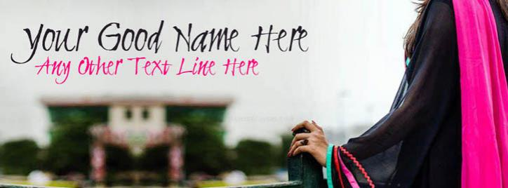 Girl in Black and Pink Facebook Cover With Name