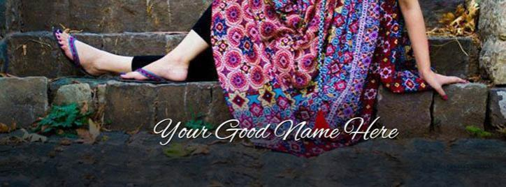 Girl in Casuals Facebook Cover With Name